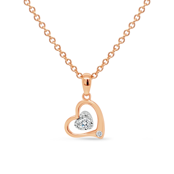 Rose Gold Heart Shaped Diamond Pendant