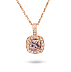 Morganite & Diamond Halo Pendant*