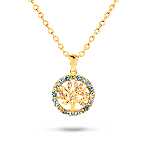 Topaz & Diamond Tree Pendant