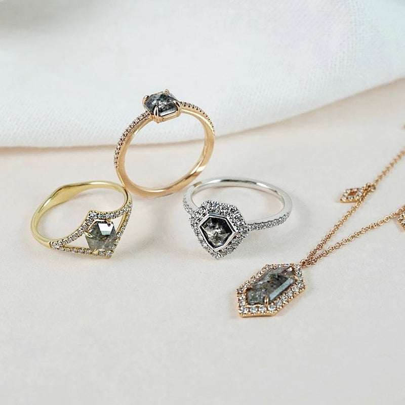 Salt & Pepper Diamond Open Halo Ring