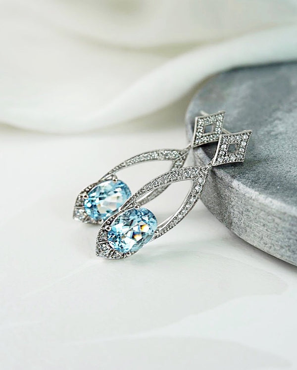 'Maya' Aquamarine & Diamond Drop Earrings