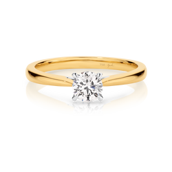 Ashley-Yellow Gold-Round Brilliant Cut Four Claw Set Solitaire Diamond Engagement Ring