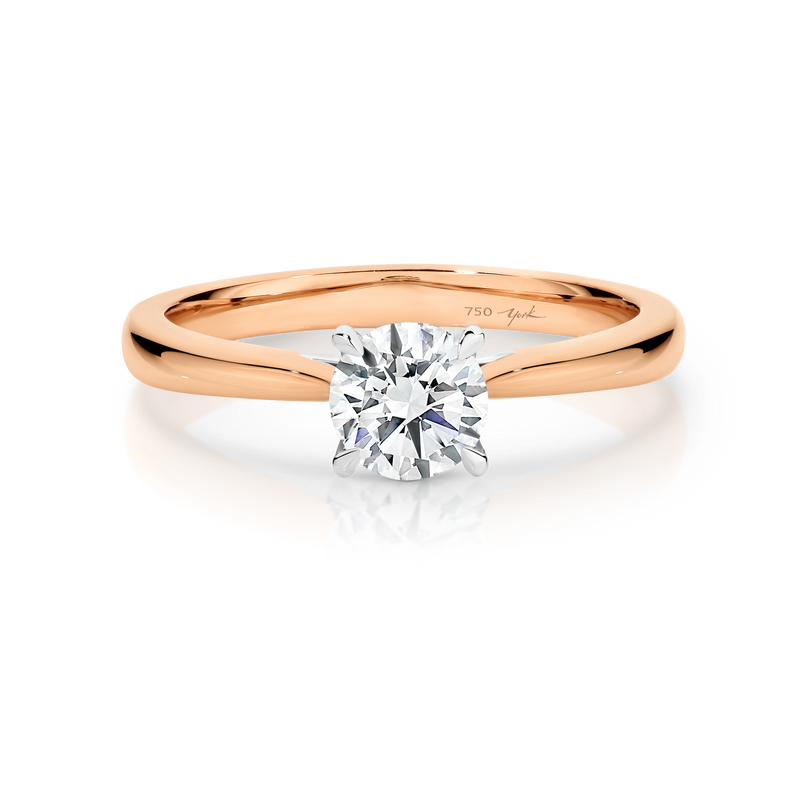 Ashley-Rose Gold-Round Brilliant Cut Four Claw Set Solitaire Diamond Engagement Ring