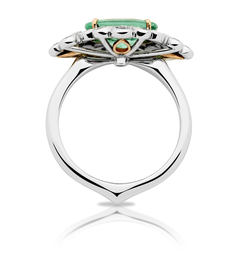 Bella: Spearmint Tourmaline and Diamond Ring