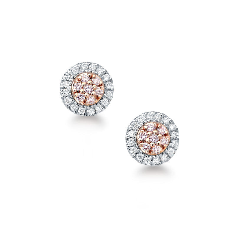 'Eloise' Pink & White Diamond Earrings