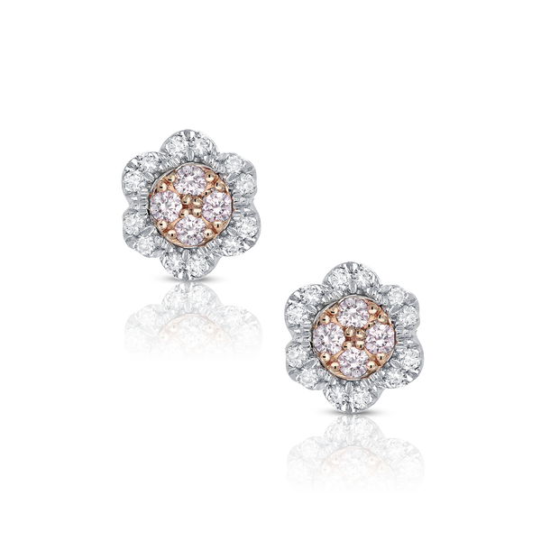 Pink and White Diamond Cluster Flower Stud Earrings