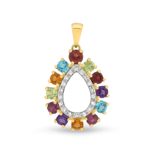 Multi-Coloured Gemstone & Diamond Pendant