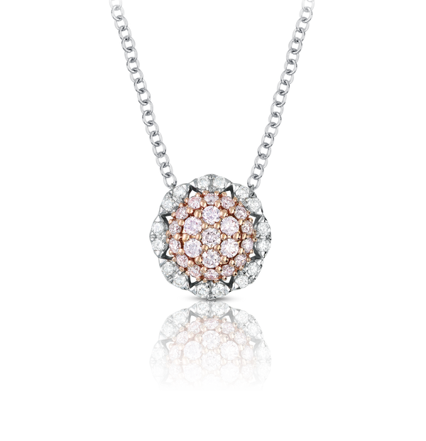 Pink and White Diamond Fancy Halo Necklace