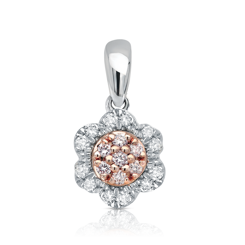'Lucy' Pink & White Diamond Pendant