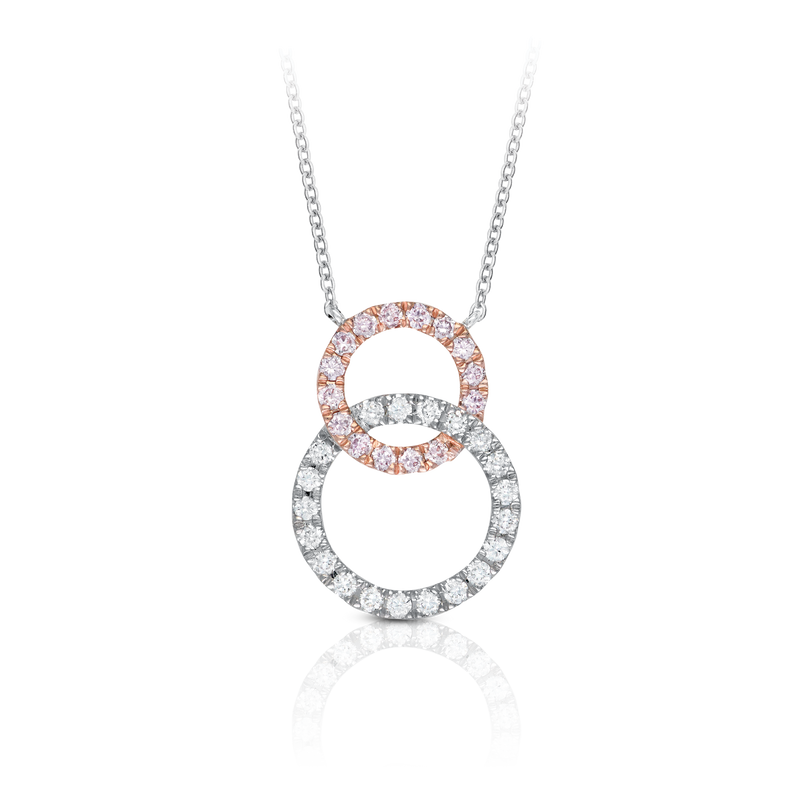 'Melody' Pink & White Diamond Pendant