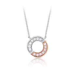 Blush 'Gemini' Pink & White Diamond Circle Necklace
