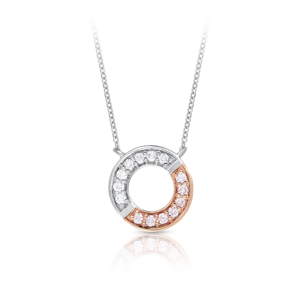 'Gemini' Pink & White Diamond Circle Necklace