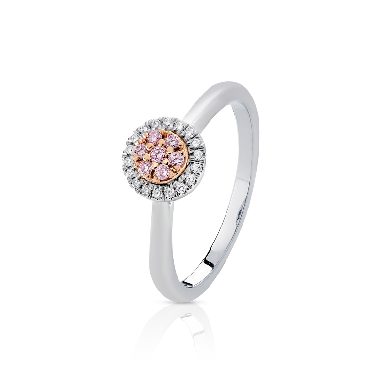 Blush 'Eloise' Pink & White Diamond Cluster Ring