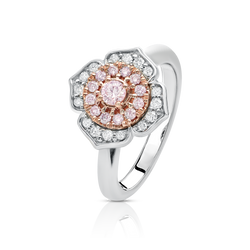 Pink and White Diamond Fancy Halo Ring