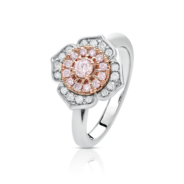 'Allegria' Pink & White Diamond Fancy Halo Ring