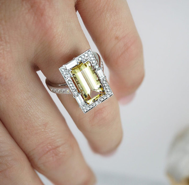 'Elizabeth' Heliodor & Diamond Ring
