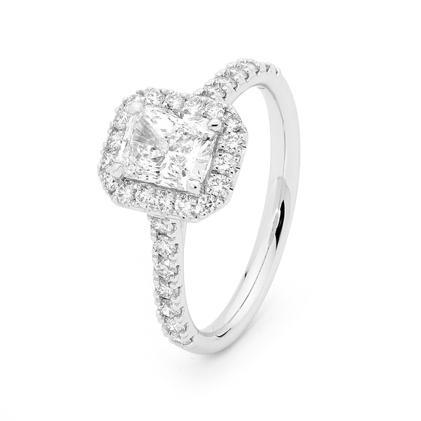 Radiant Diamond Halo Ring