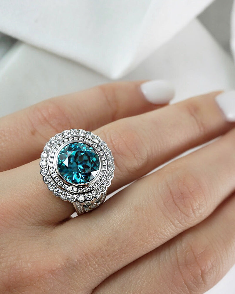 'Lola' Blue Zircon and Diamond Dress Ring