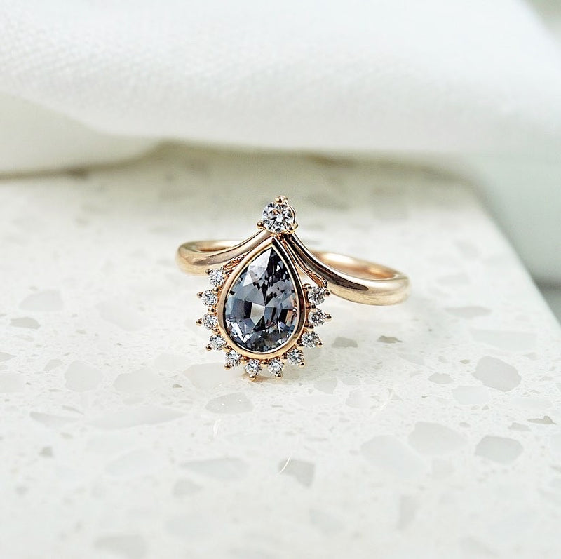 Grey Spinel & Diamond Ring