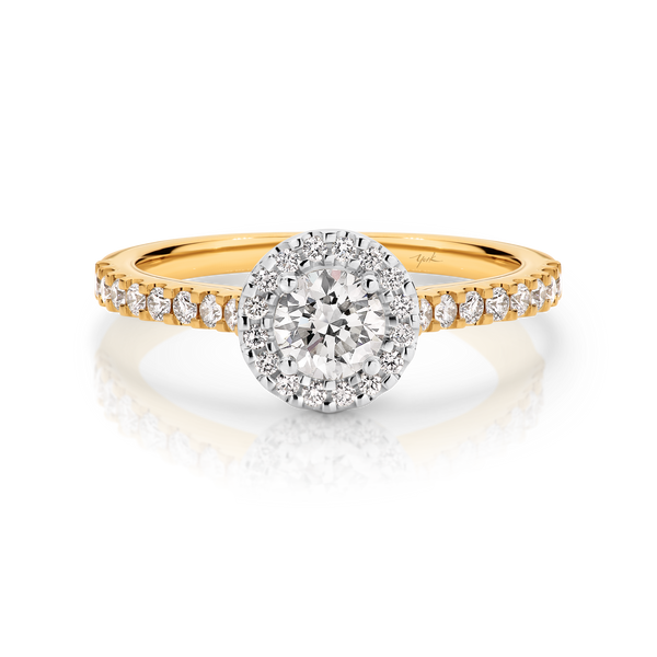 Laura-Yellow Gold-Round Brilliant Cut Diamond Halo Engagement Ring with Diamond Set Band