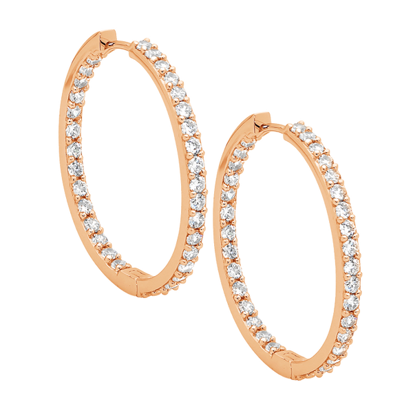Sterling silver Cubic Zirconia 3cm hoop earrings with rose gold plating