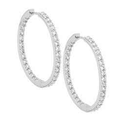 Cubic Zirconia Inside Out Hoop Earrings
