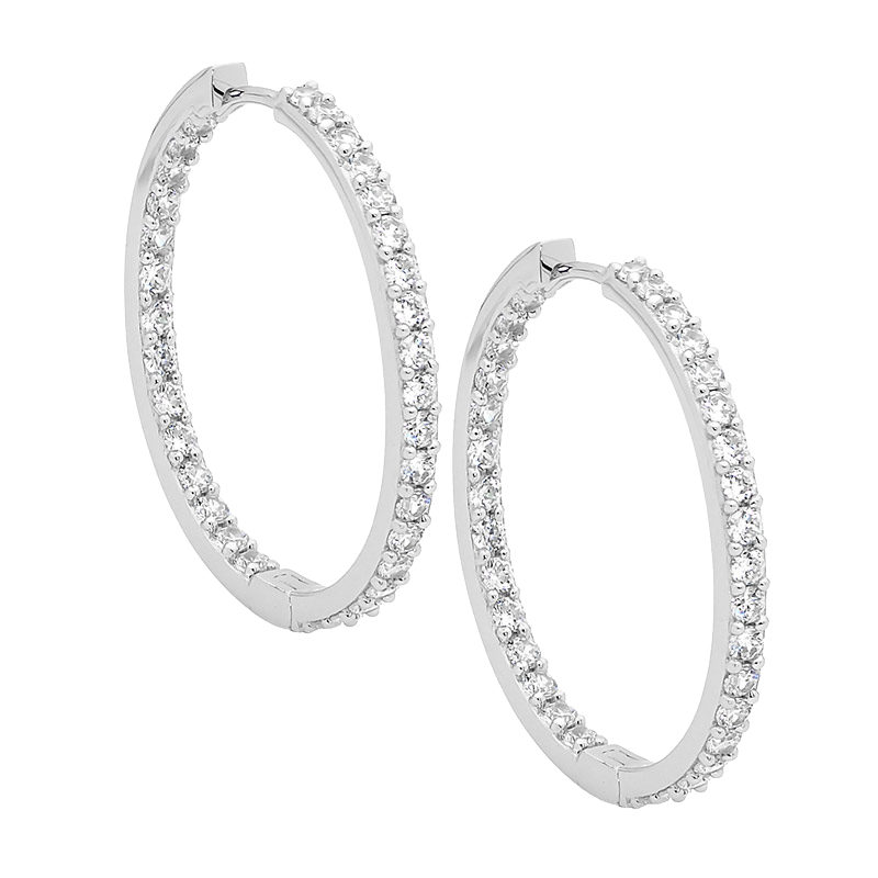 Sterling silver Cubic Zirconia inside out 3cm hoop earrings