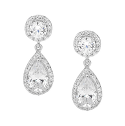 Cubic Zirconia Round & Pear Halo Drop Earrings