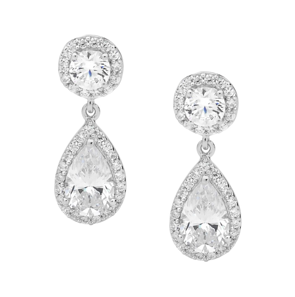 Sterling silver Cubic Zirconia round and pear drop earrings