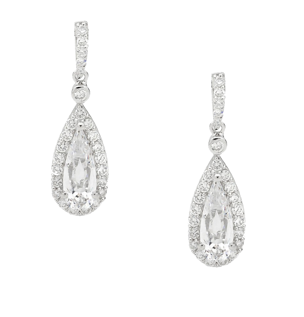 Sterling silver Cubic Zirconia pear halo drop earrings
