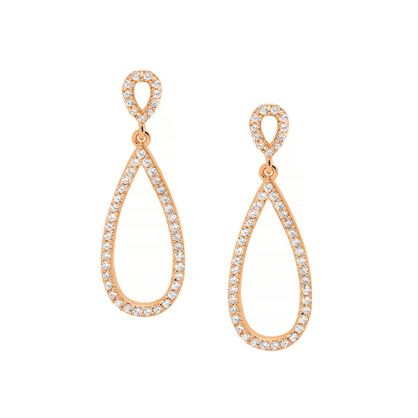 Double Open Cubic Zirconia Drop Earrings