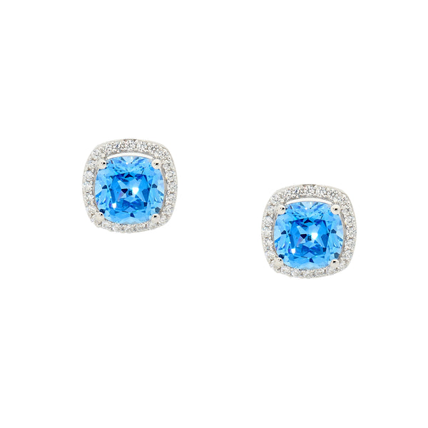Blue Cubic Zirconia Cushion Cut Stud Earrings
