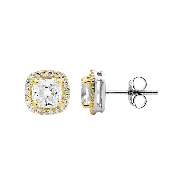 Sterling silver Cubic Zirconia cushion halo earrings with gold plating