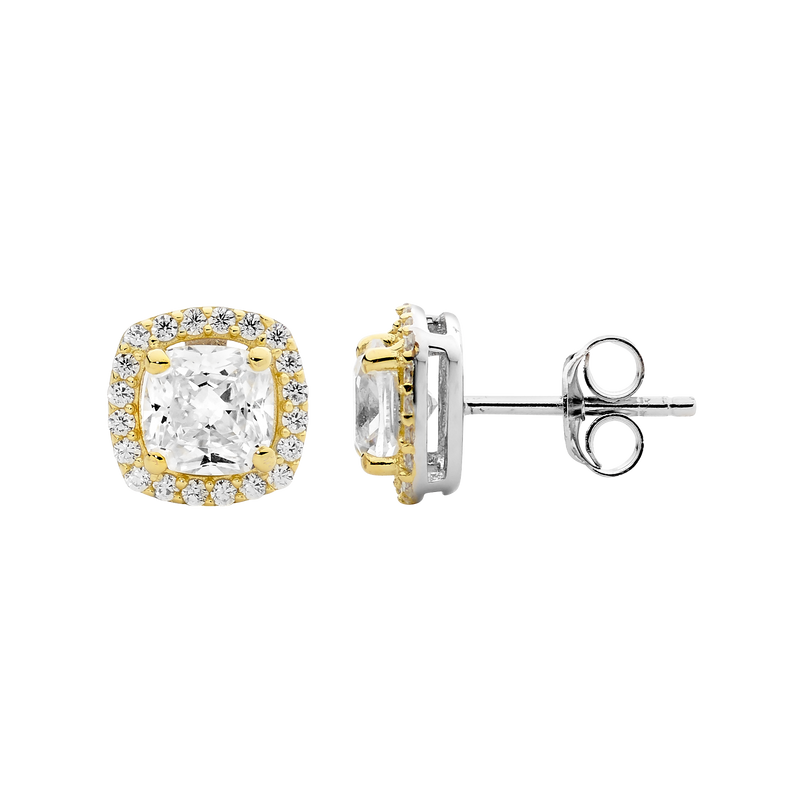 Cubic Zirconia Yellow Cushion Halo Stud Earrings