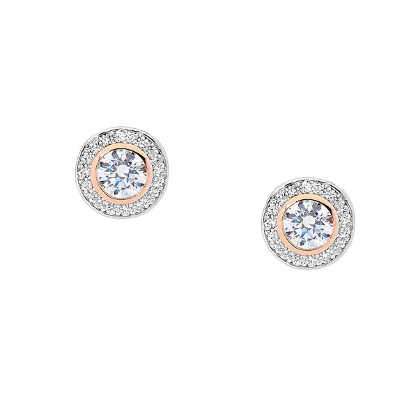 Cubic Zirconia Halo Stud Earrings