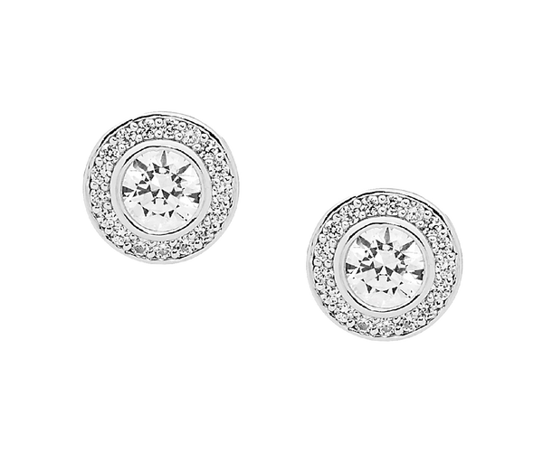 Sterling silver Cubic Zirconia halo stud earrings