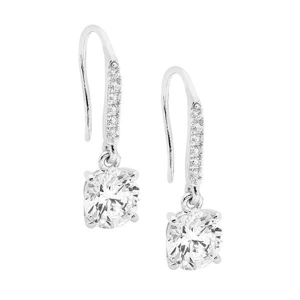 Cubic Zirconia Drop Shepherd Hook Earrings