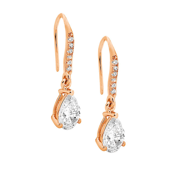 Pear Shaped Cubic Zirconia Drop Earrings