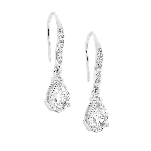 Sterling silver Cubic Zirconia pear drop shepherd hook earrings