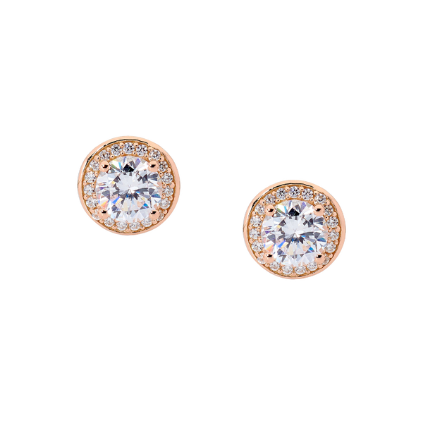 Cubic Zirconia Rose Halo Stud Earrings