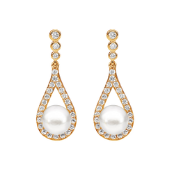 Sterling silver Cubic Zirconia bezel set stud earrings with open tear drop and Fresh Water Pearls