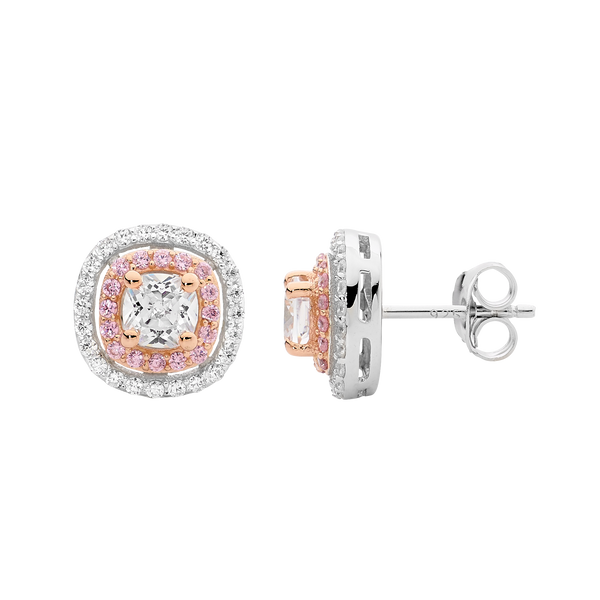 Pink & White Cubic Zirconia Halo Stud Earrings