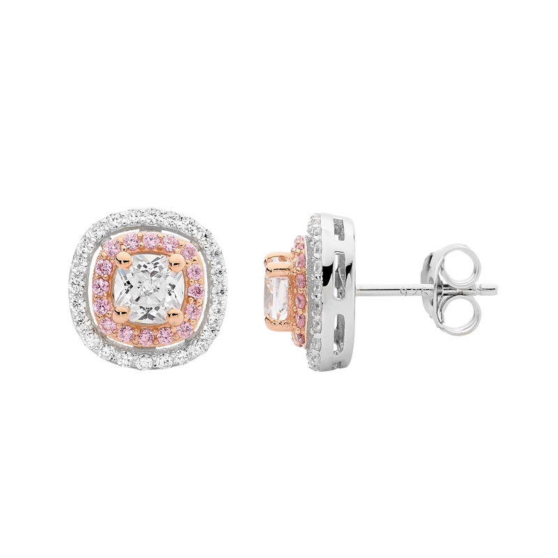 Sterling Silver pink and white Cubic Zirconia halo stud earrings