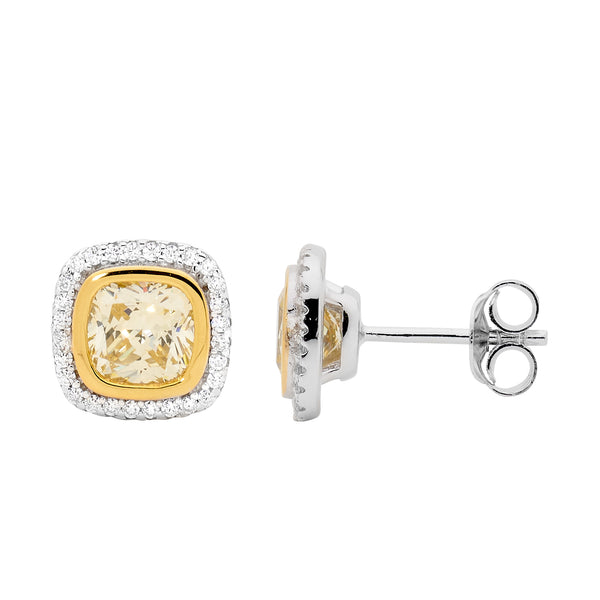 Yellow Cubic Zirconia Halo Stud earrings
