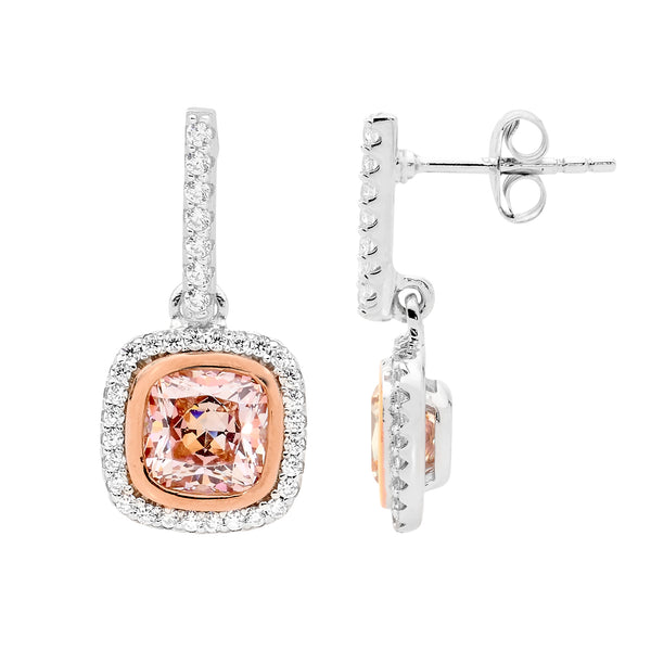 Morganite Colour Cubic Zirconia Halo Drop earrings