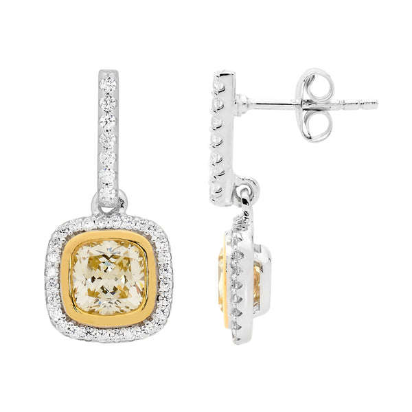 Yellow Cubic Zirconia Halo Drop earrings