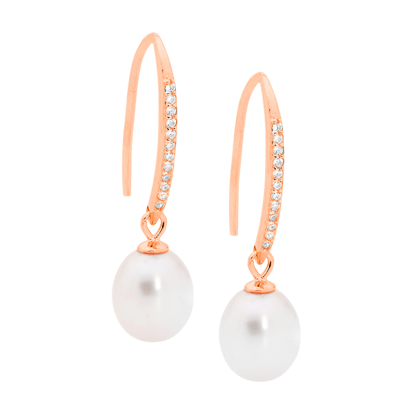 Freshwater Pearl & Cubic Zirconia Drop Earrings