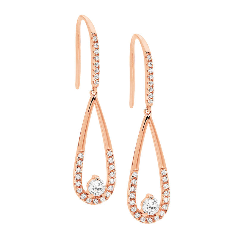 Cubic Zirconia Rose Long Drop Earring