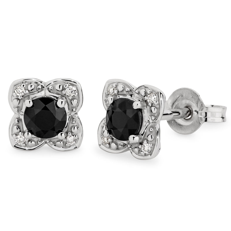 Sapphire & Diamond Halo Stud Earrings