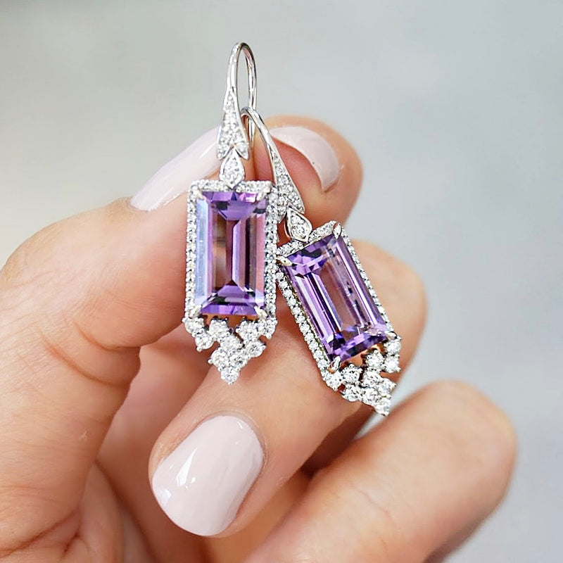 'Victoria' White Gold, Amethyst & Diamond Earrings